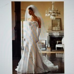 David's Bridal White Champagne Satin Wedding Gown